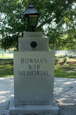 Bowman War Memorial, west view image. Click for full size.