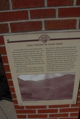 Early History of Clear Creek Marker image. Click for full size.