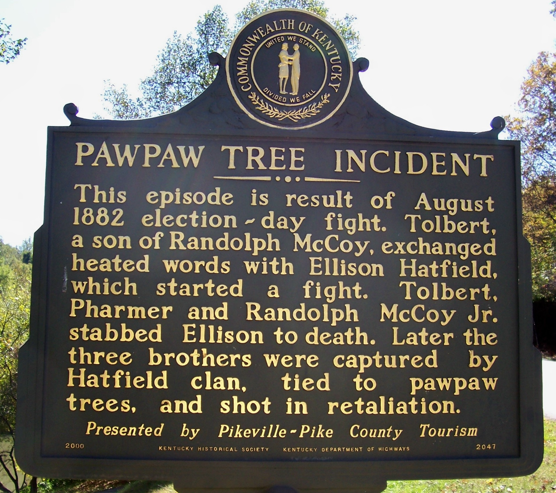 Pawpaw Tree Incident Marker