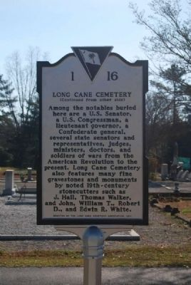 Long Cane Cemetery Marker<br>Reverse image. Click for full size.