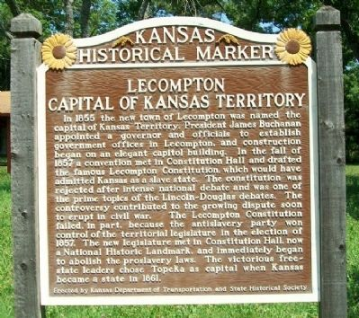 Lecompton, Capital of Kansas Territory Marker image. Click for full size.