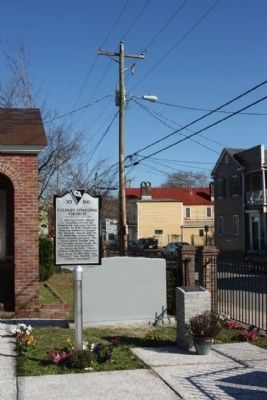 Calvary Episcopal Church Marker, looking east along Line Street image. Click for full size.