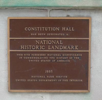 Constitution Hall Marker image. Click for full size.