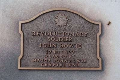 Maj. John Bowie Tombstone<br>D.A.R. Plaque image. Click for full size.