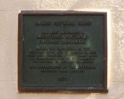 DuBose Heyward House Marker image. Click for full size.