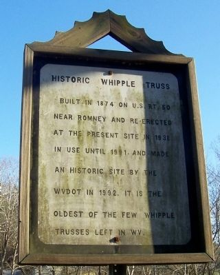 Historic Whipple Truss Marker image. Click for full size.