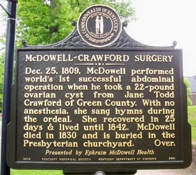 McDowell-Crawford Surgery Marker image. Click for full size.