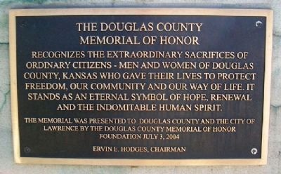 The Douglas County Memorial of Honor Marker image. Click for full size.