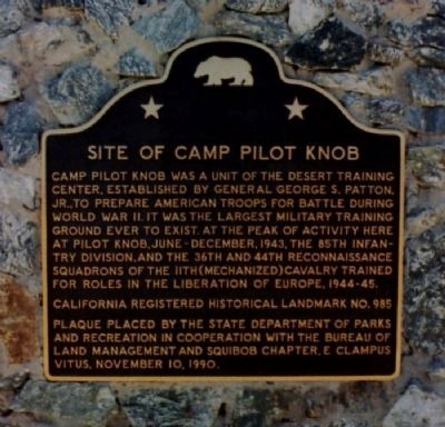 Site of Camp Pilot Knob Marker image. Click for full size.
