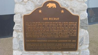 USS <i>Recruit</i> Marker image. Click for full size.
