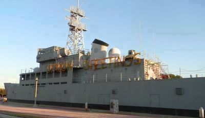 USS <i>Recruit</i>, her portside upper deck dressed for the holidays image. Click for full size.