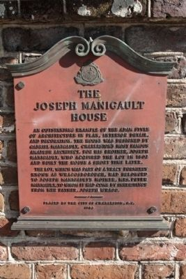 The Joseph Manigault House Marker image. Click for full size.