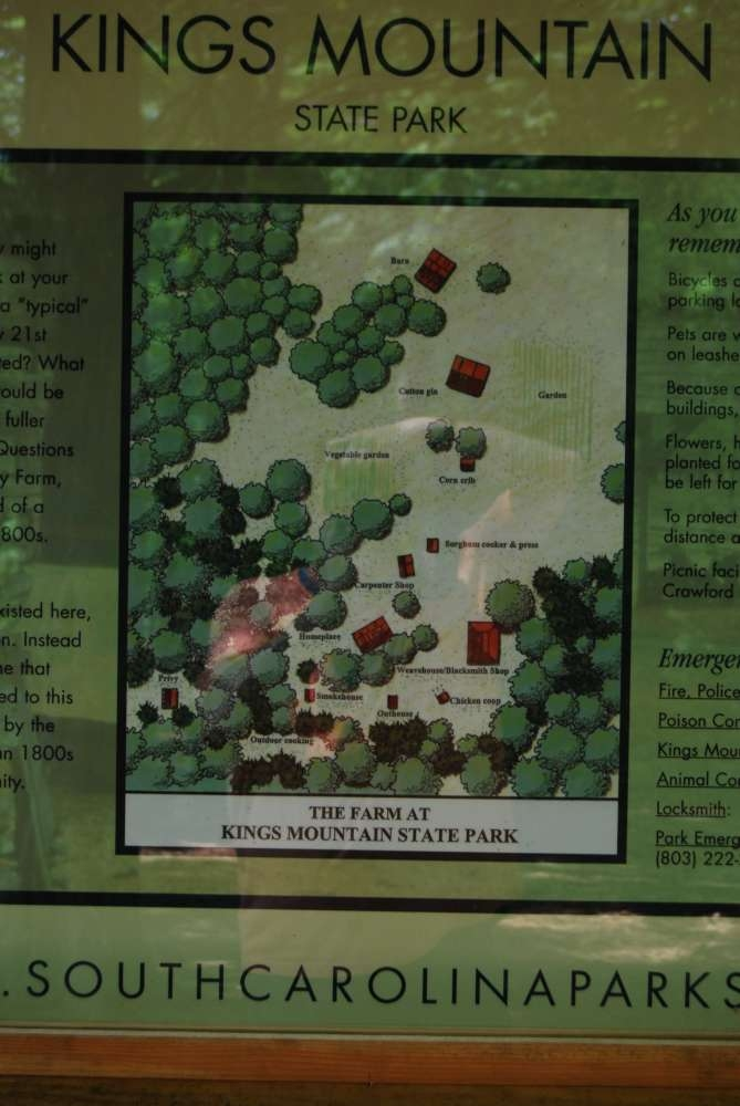 Welcome to Kings Mountain State Park Marker<br>Historical Farm Map