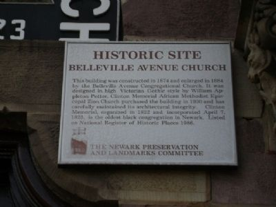 Belleville Avenue Church Marker image. Click for full size.