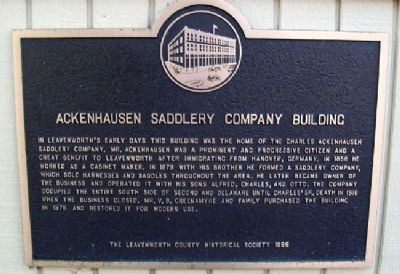 Ackenhausen Saddlery Co. Bldg Marker image. Click for full size.