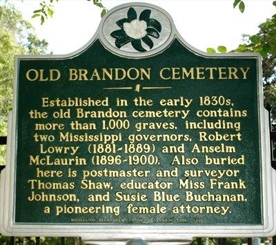 Old Brandon Cemetery Marker image. Click for full size.