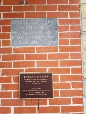 The Briggs State Bank Building, closeup image. Click for full size.