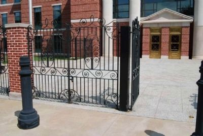 Gates Designed by Simmons<br>Entrance to Matthew J. Perry Jr. United States Courthouse in Background image. Click for full size.