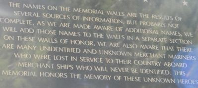 American Merchant Marine Veterans Memorial Wall of Honor Inscription image. Click for full size.
