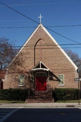 Calvary Episcopal Church Marker, at left side of door image. Click for full size.