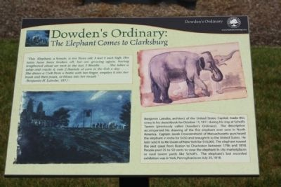 Dowden's Ordinary: The Elephant Comes to Clarksburg Marker image. Click for full size.