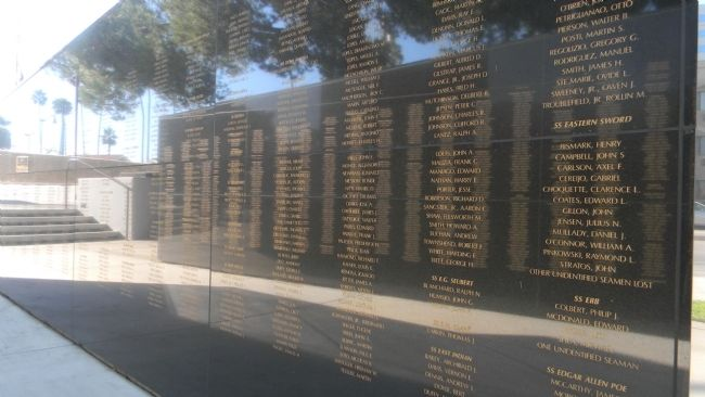 'Reflection upon reflections:' Merchant Marine Veterans Memorial Wall of Honor image. Click for full size.