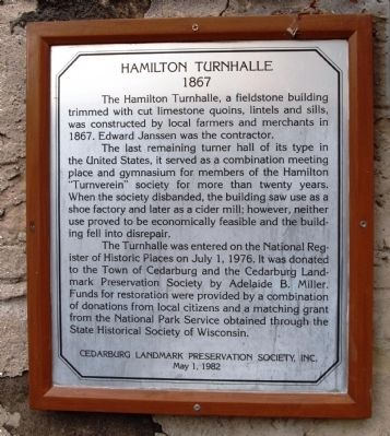 Hamilton Turnhalle Marker image. Click for full size.