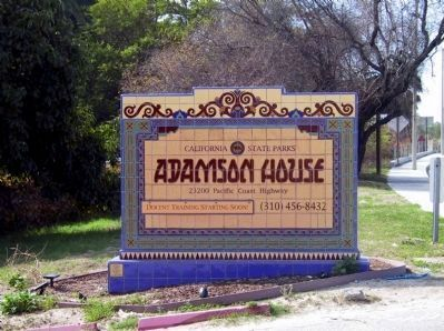 The Adamson House State Park Sign at the Entrance image. Click for full size.