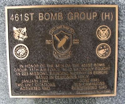 461st Bomb Group (H) Marker image. Click for full size.