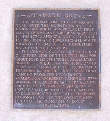 Sycamore Grove Marker image. Click for full size.