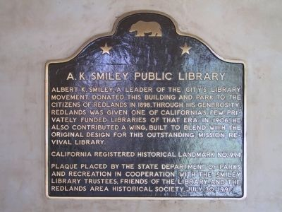 A.K. Smiley Public Library Marker image. Click for full size.