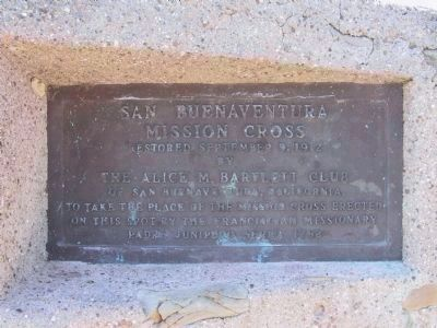 San Buenaventura Mission Cross Marker (front right) image. Click for full size.