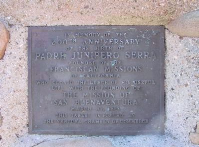 Padre Junipero Serra Marker (front left) image. Click for full size.