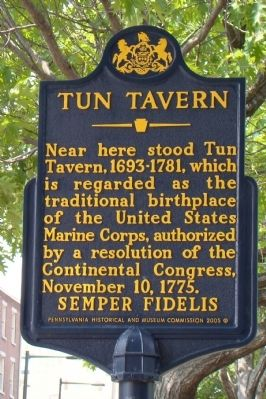 Tun Tavern Marker image. Click for full size.
