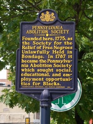 Pennsylvania Abolition Society Marker image. Click for full size.