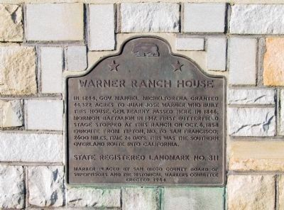 Warner's Ranch Marker image. Click for full size.