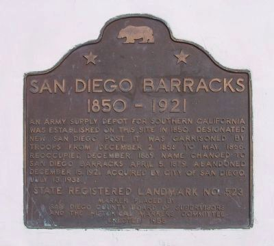 San Diego Barracks Marker image. Click for full size.