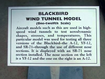 Panel #1: Blackbird Wind Tunnel Model<br>(One-Twelfth Scale) image. Click for full size.