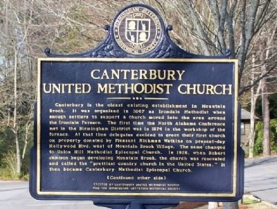 Canterbury United Methodist Church Marker, front image. Click for full size.