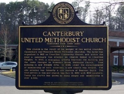 Canterbury United Methodist Church Marker, reverse image. Click for full size.