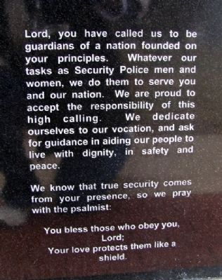 USAF Security Police Prayer image. Click for full size.