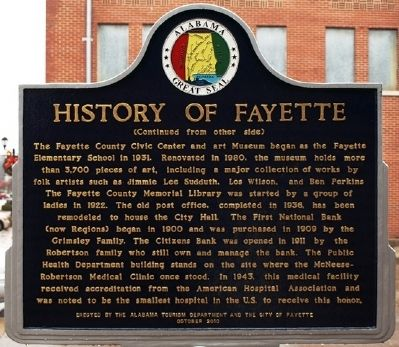 History of Fayette Marker image. Click for full size.