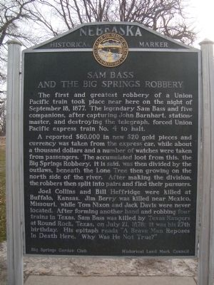 Sam Bass and the Big Springs Robbery Marker image. Click for full size.