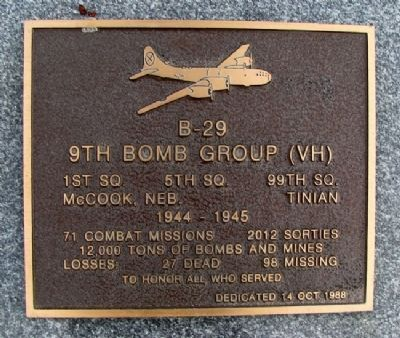 9th Bomb Group (VH) Marker image. Click for full size.