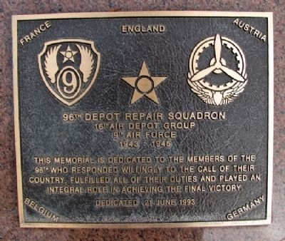 96th Depot Repair Squadron Marker image. Click for full size.