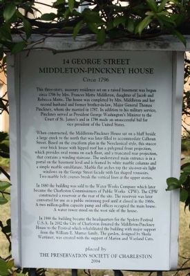 14 George Street   Middleton-Pinckey House Marker image. Click for full size.