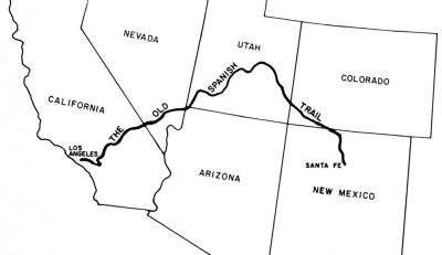 Map of the Old Spanish Trail from Sante Fe to Los Angeles image. Click for full size.