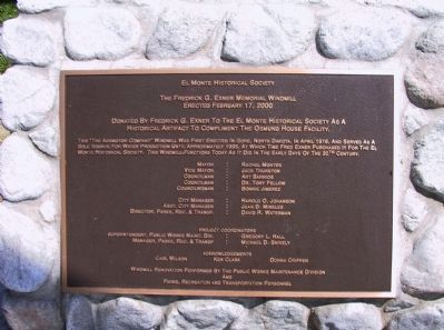 The Frederick G. Exner Memorial Windmill Marker image. Click for full size.