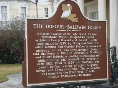 The Dufour-Baldwin House Marker image. Click for full size.