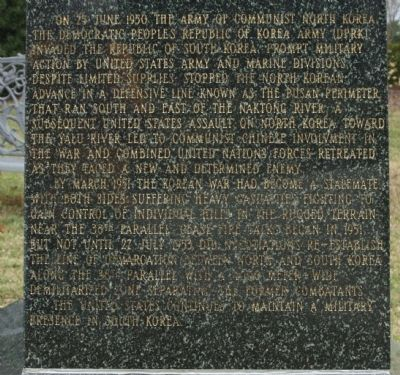 Korean War Marker, west face continued image. Click for full size.